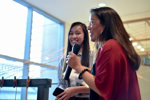 Poets Michelle Duong (l) and Arlene Biala at the 2017 Poetry Invitational at the San Jose Museum of Art.  Photo: Pasag Photography