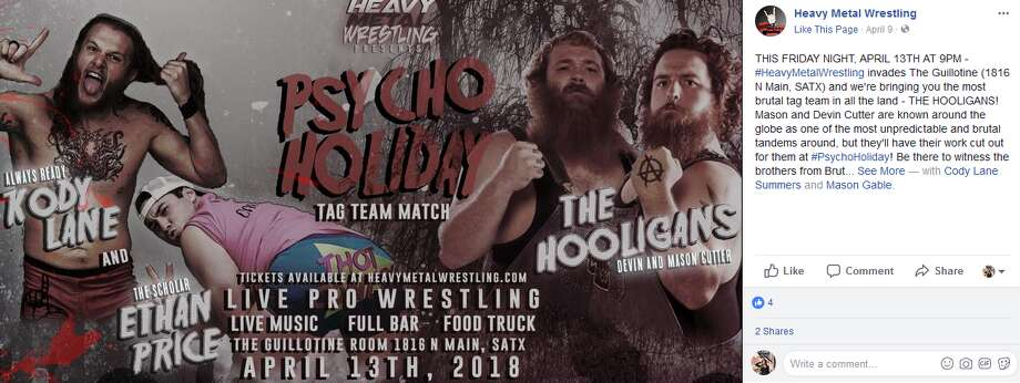 "Described online as ""counter culture pro wrestling from San Antonio accompanied by bad ass live music,"" Heavy Metal Wrestling is bringing ""Psycho Holiday"" to The Guillotine, at 1816 N. Main, on Friday."