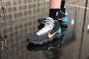 Pau Gasol wears his custom Fiesta Nike sneakers. (Photo by Jabari Young)