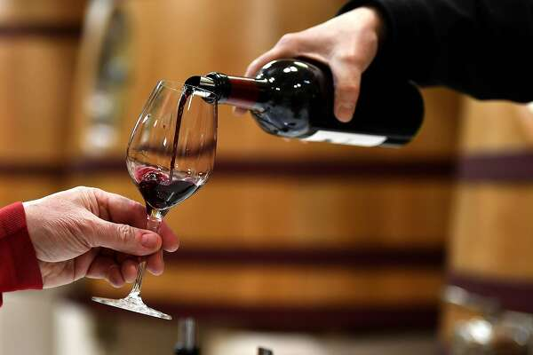 Wine is served during a wine tasting session at the Chateau Ausone in Saint-Emilion, southwestern France, on April 10, 2018, during the 'Semaine des Primeurs' to present wines from the Bordeaux region. The event took place from April 9 until April 12, 2018. / AFP PHOTO / GEORGES GOBETGEORGES GOBET/AFP/Getty Images