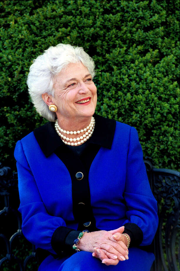 First Lady Barbara Bush, April 9, 1990. Photo Credit:  George Bush Presidential Library Photo: George Bush Presidential Library And Museum