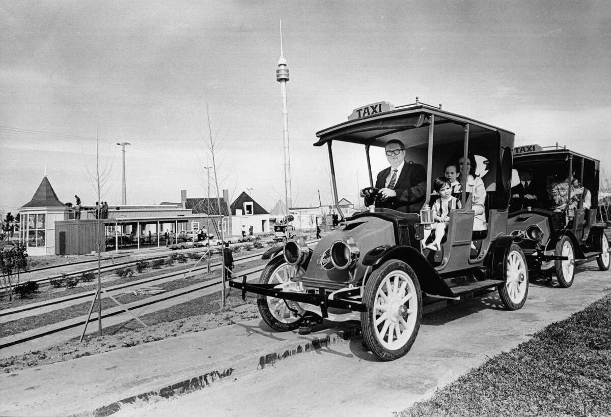 Former Houston Mayor Roy Hofheinz and his family owned the park for just under a decade. (Photo: Astroworld builder Roy Hofheinz gives his daughter, Dene Hofheinz Mann, and grandchildren, Dinn Mann, 2 1/2, front, and Mark Mann, 4, the first ride aboard this circa 1918 taxicab, one of a fleet of 35 being installed at the amusement park on Feb. 27, 1968)
