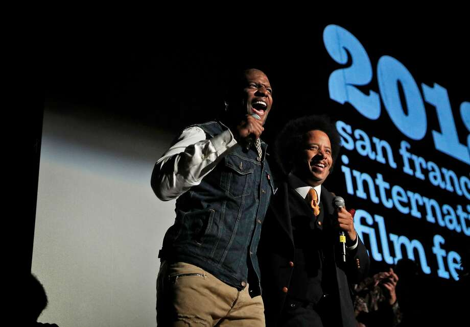 """Actor Terry Crews (left) joins director Boots Riley for the Oakland premiere of """"Sorry to Bother You."""" Photo: Carlos Avila Gonzalez / The Chronicle"""