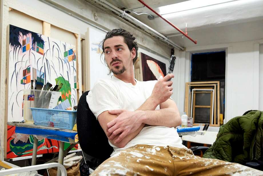 Since switching from an iPhone to a flip phone, Roman Cochet, a Parisian painter living in Brooklyn, N.Y., says his life has far fewer distractions. (Kate Enman) Photo: Kate Enman