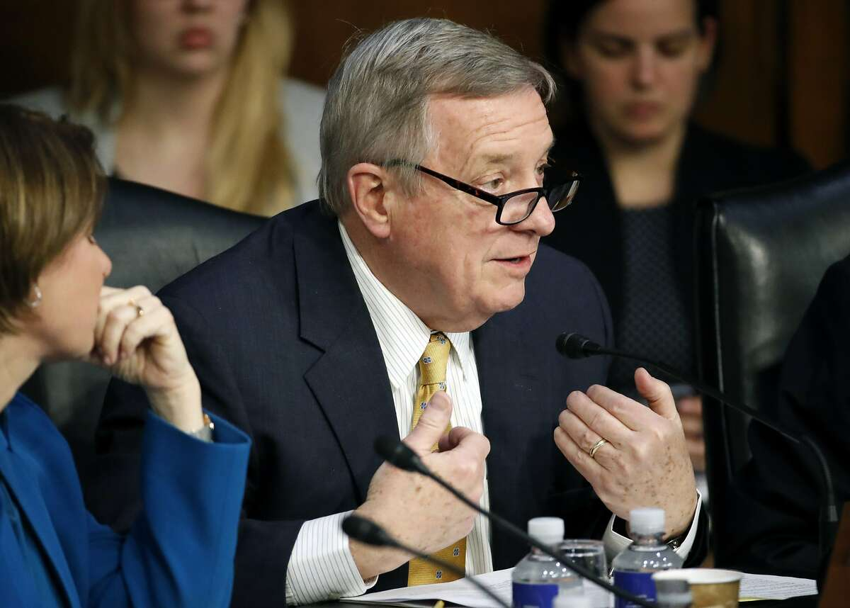 Sen. Dick Durbin, D-Ill., questions Facebook CEO Mark Zuckerberg as he testifies before a joint hearing of the Commerce and Judiciary Committees on Capitol Hill in Washington, Tuesday, April 10, 2018, about the use of Facebook data to target American voters in the 2016 election. (AP Photo/Alex Brandon)