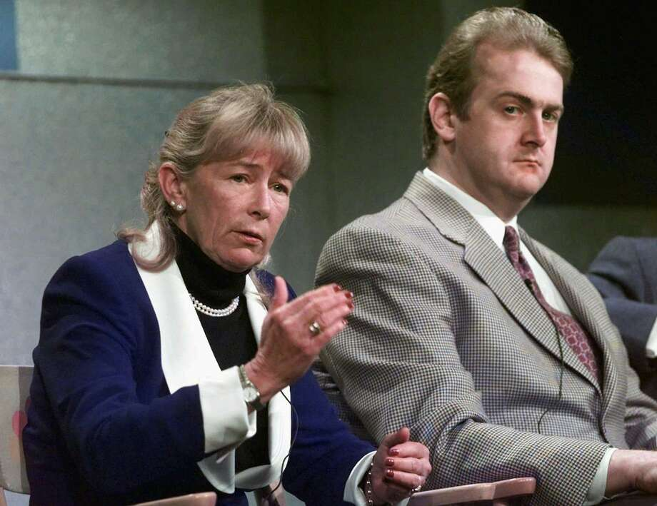 Rep. Carolyn McCarthy (D-New York), left, with her son Kevin McCarthy. McCarthy's husband was killed and her son was seriously wounded by a gunman on a commuter train at New York's Penn Station in December 1993. Photo: Kevork Djansezian / Associated Press / AP