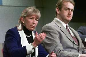Rep. Carolyn McCarthy (D-New York), left, with her son Kevin McCarthy. McCarthy's husband was killed and her son was seriously wounded by a gunman on a commuter train at New York's Penn Station in December 1993.