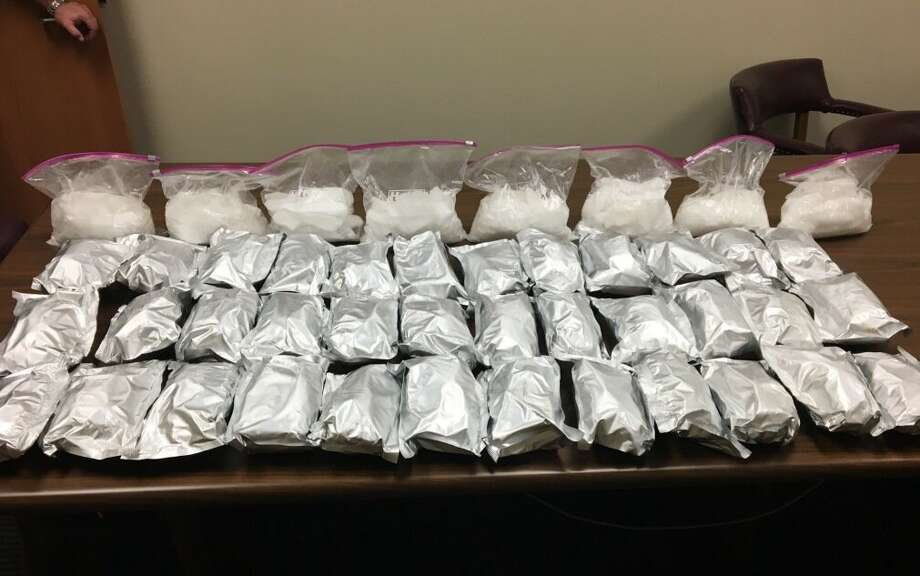 Two men were charged with manufacture/delivery of a controlled substance after they allegedly tried to sell almost 60 pounds of methamphetamine to undercover officers in Katy on April 11, 2018. Photo: Harris County Constable Precinct 5