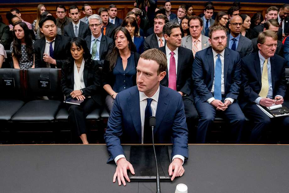 Facebook CEO Mark Zuckerberg does his best to appear as inoffensive and apologetic as possible when he testifies on Capitol Hill last week. Photo: Andrew Harnik / Associated Press