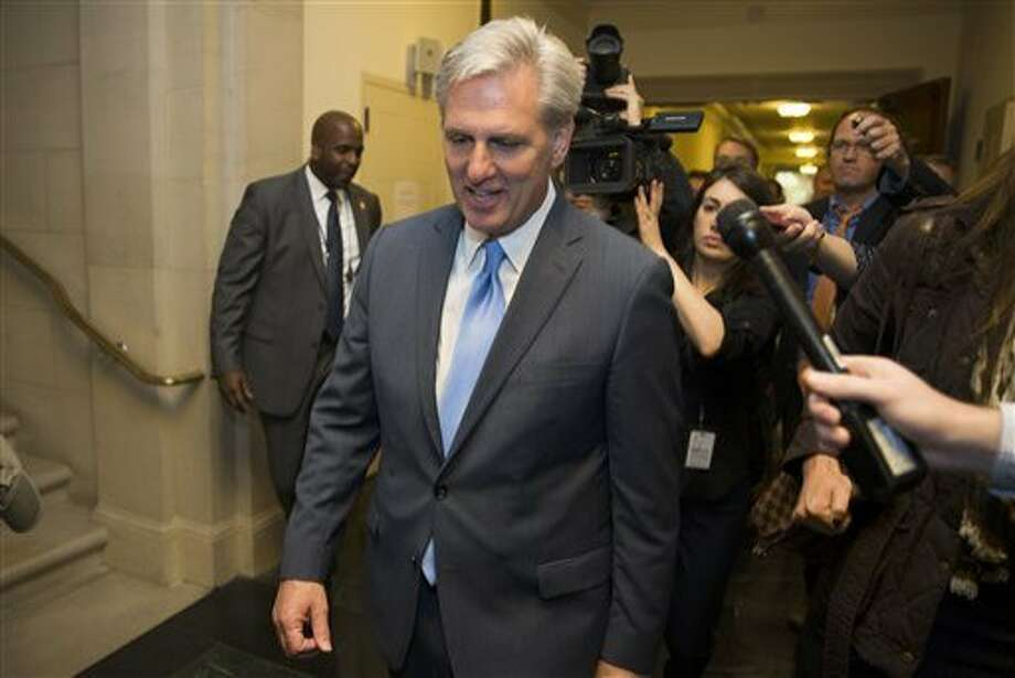 House Majority Leader of Kevin McCarthy of Calif. walks out of nomination vote meeting on Capitol Hill in Washington, Thursday, Oct. 8, 2015, after dropping out of the race to replace House Speaker John Boehner. In a stunning move, McCarthy withdrew his candidacy for House speaker Thursday, throwing Congress' Republican leadership into chaos. (AP Photo/Evan Vucci) Photo: Evan Vucci, AP