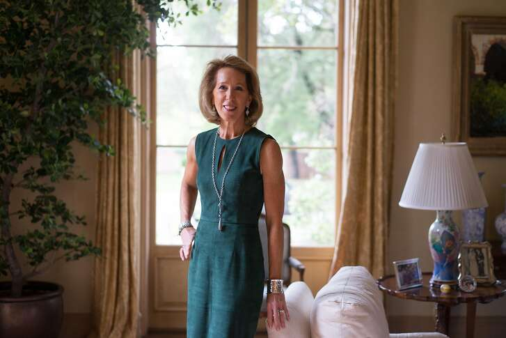 Mikey Hoag poses for a portrait in her home in Atherton, Calif. on Wednesday, March 21, 2017. Hoag founded the Part the Cloud gala which has raised millions for the Alzheimer's Association.
