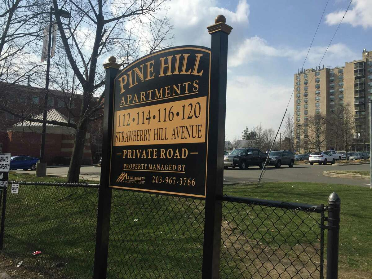 The Pine Hill Apartments on Strawberry Hill Avenue, in Stamford, Conn., have sold for $25.5 million. At left is the Tully Health Center; at right are the Regency Towers apartments.