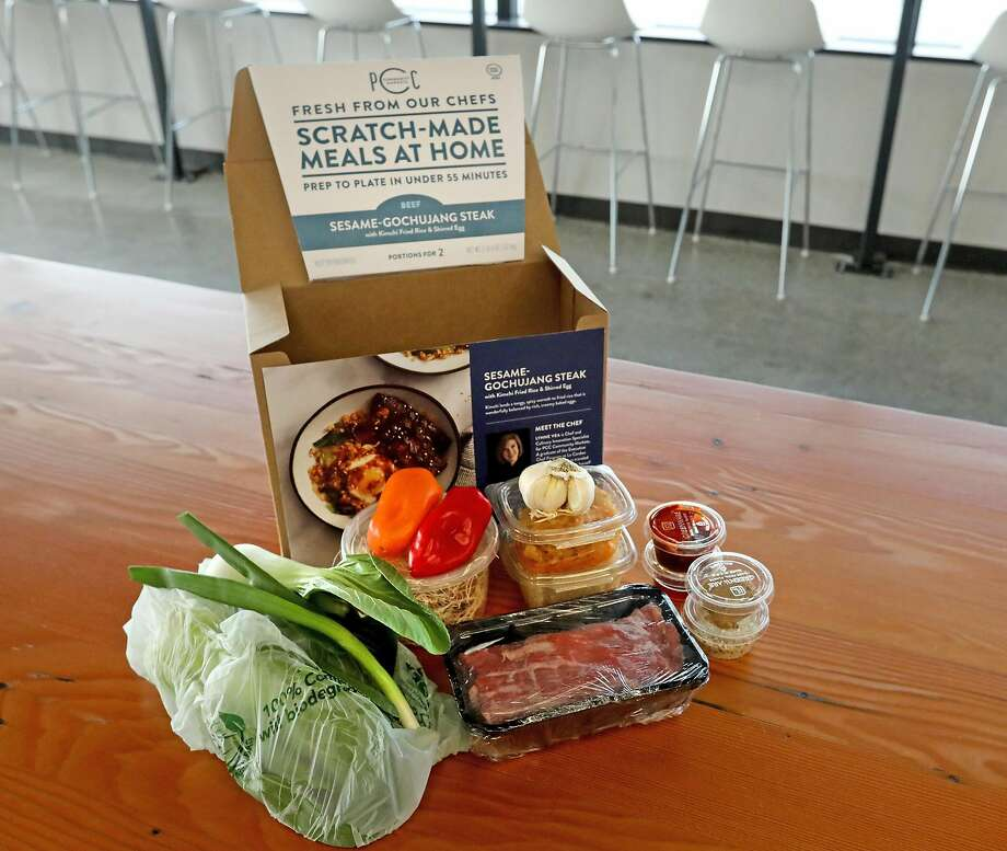 Meal kits sold by Seattle co-op chain PCC Community Markets come from in-house recipes, feature sea son al ingredients and are packed on site daily. Grocery stores are getting into the meal kit business. Photo: Greg Gilbert / Seattle Times