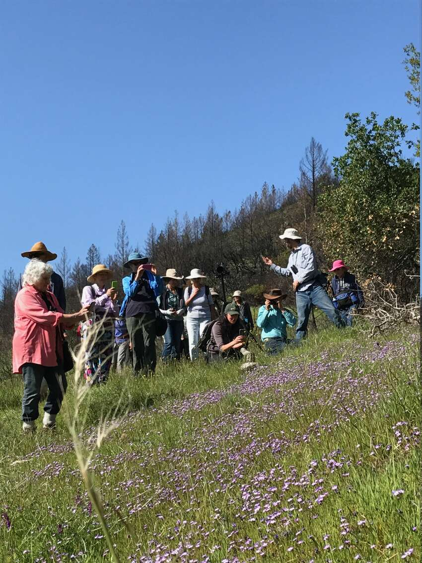 The Sonoma Ecology Center leads a group from Bay Nature Magazine on a wildlife hike in Sugarloaf State Park on April 8, 2018.