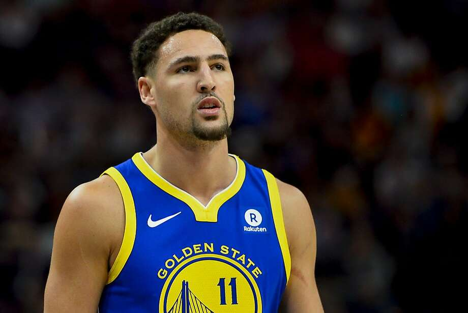Golden State Warriors guard Klay Thompson (11) looks on in the first half of an NBA basketball game against the Utah Jazz Tuesday, April 10, 2018, in Salt Lake City. (AP Photo/Alex Goodlett) Photo: Alex Goodlett / Associated Press