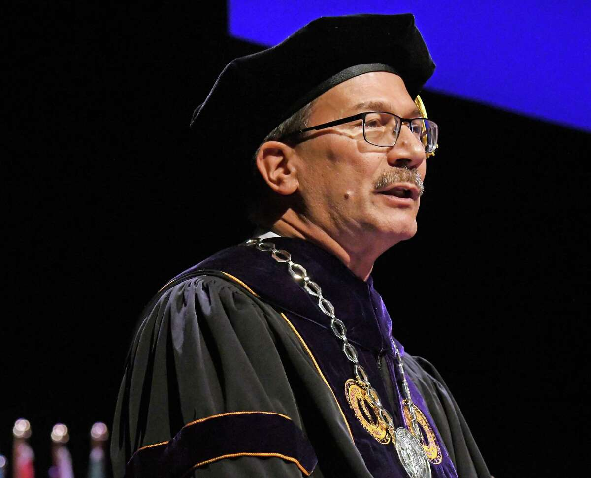 Dr. Havid‡n Rodr'guez speaks during his inauguration as the 20th President of the University at Albany in a ceremony at UAlbany Friday April 13, 2018 in Albany, NY. (John Carl D'Annibale/Times Union)