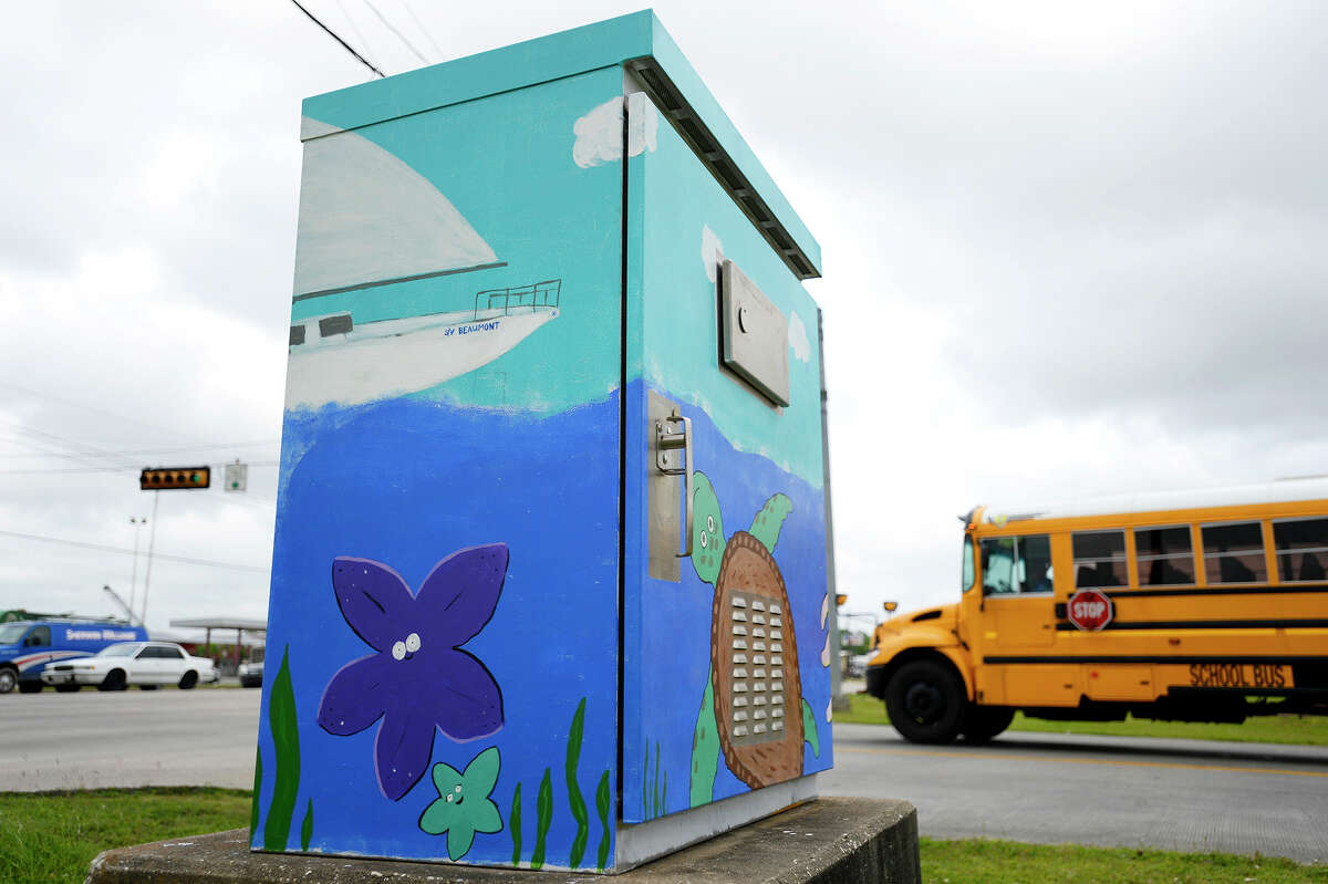 An ocean themed painting on a traffic control box painted by Davina Kurtz at the corner of College Street and Langham Road. Photo taken Friday 4/13/18 Ryan Pelham/The Enterprise