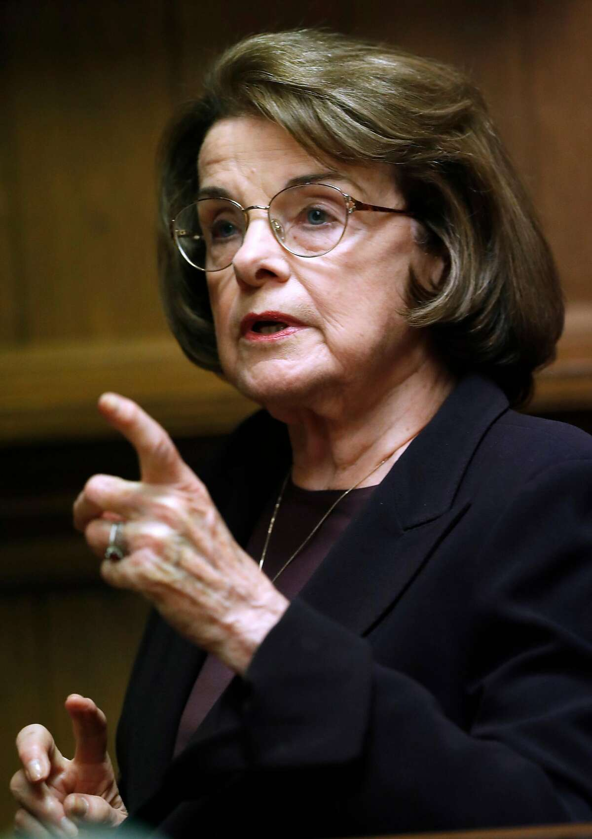 United States' Senator Dianne Feinstein, seen here in an April 2018 picture, has decided not to seek to retain her position as the top Democrat on the Senate Judiciary Committee.