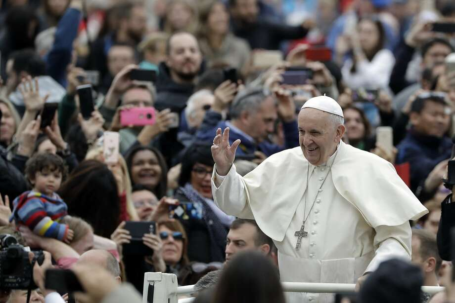 Pope Francis arrives in St.Peter's Square at the Vatican for his weekly general audience, Wednesday, April 11, 2018. (AP Photo/Andrew Medichini) Photo: Andrew Medichini / Associated Press