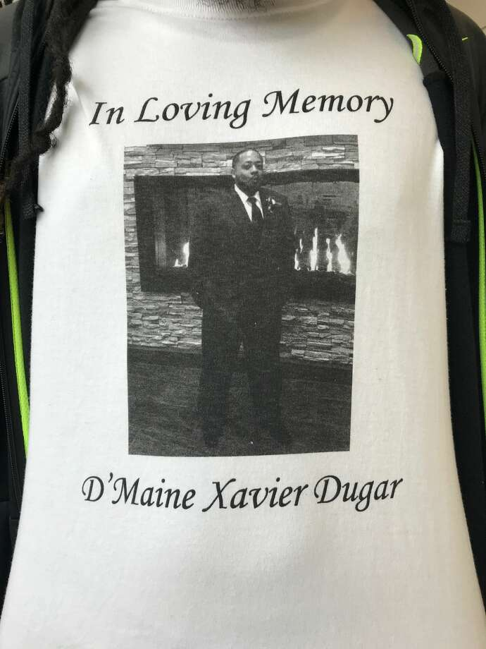 A t-shirt depicting D'maine Dugar, who was killed while he walked to work on Sept. 9, 2017. Photo: Stephen Cohen/SeattlePI