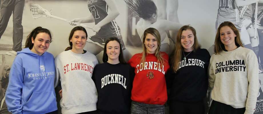 From left to right, Ciara Henry (Johns Hopkins track and field), Kalyna Carroll (swimming St. Lawrence), Morgan Hennessy (Bucknell golf), Tory Huchro (Cornell squash), Caleigh Pope (Middlebury swimming) and Clara Geffs (Columbia rowing) will each compete in their respective sports at the collegiate level after excelling at Sacred Heart Greenwich. Photo: Contributed Photo / Stamford Advocate Contributed