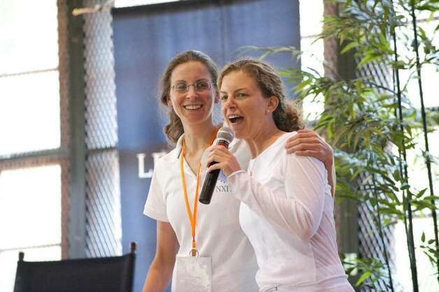 Sisters Sara and Clare Bronfman at a NXIVM event in 2009. (Times Union) / Sara Bronfman