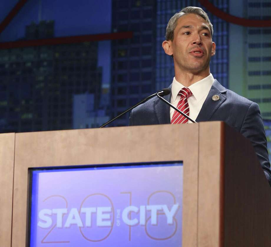 Mayor Ron Nirenberg gives the state of the city address April 10 at the San Antonio Convention Center. The transit plan from a nonprofit group put together by the mayor lays out a sensible strategy to deal with future growth. Photo: William Luther /San Antonio Express-News / © 2018 San Antonio Express-News