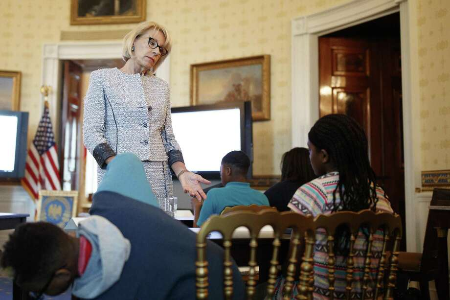 Education Secretary Betsy DeVos is apparently backing an attempt to allow federal funds used to educate children in military families for vouchers for private schooling. Photo: TOM BRENNER /NYT / NYTNS
