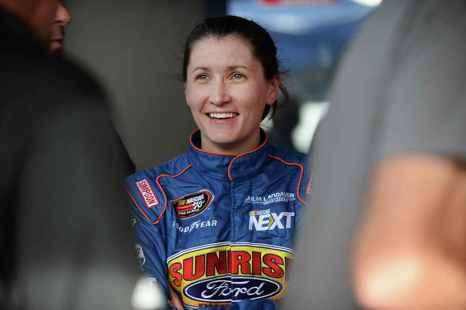 ,Julia Landauer, at 26, is among the best female stock car racers. Landauer was born in Manhattan, graduated from Stanford, competed on Survivor and spoke at the University of New Haven this week. Photo: Bart Young / Getty Images / 2017 Getty Images