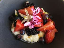 Perry Hoffman's Berries With Rose Geranium, Citrus Flowers & Creme Fraiche; we all get along in salads