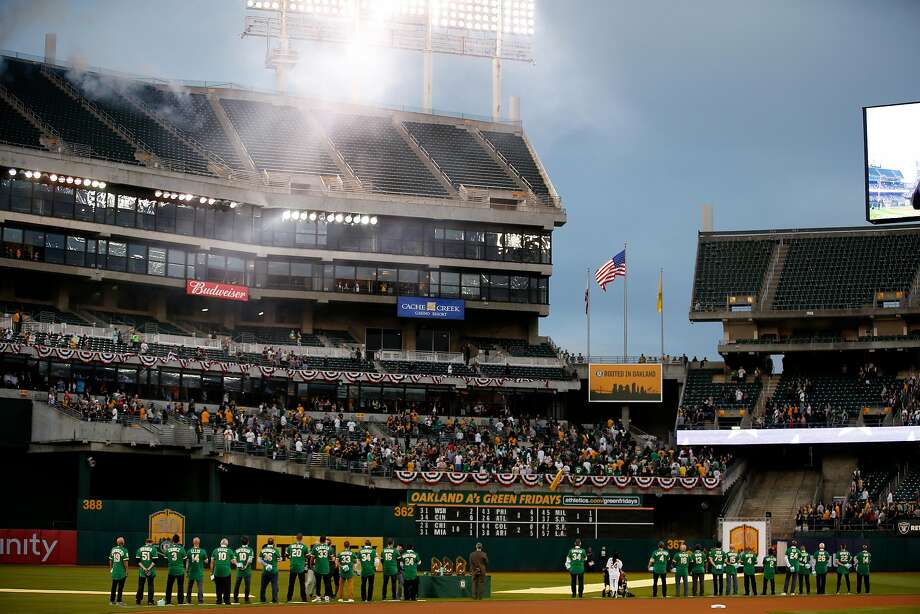 The Oakland Coliseum is likely to be packed to the bring Tuesday as the A's celebrate the 50th anniversary of their first game in the city. Photo: Santiago Mejia / The Chronicle
