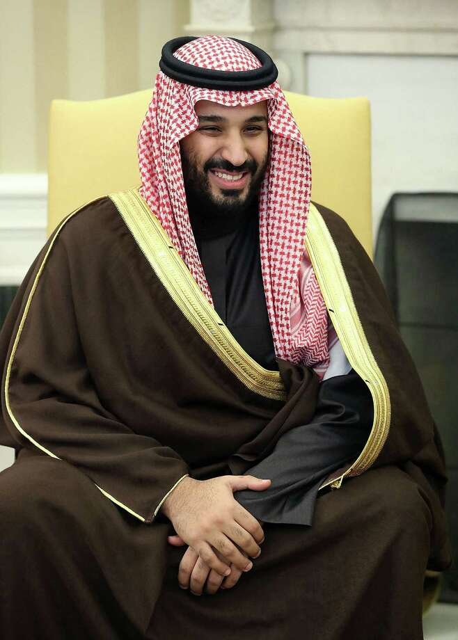Mohammed bin Salman, heir to the throne of Saudi Arabia, capped a three-week U.S. tour in Houston, where the crown prince and an entourage of Saudi and American oil executives inked new deals to study multibillion-dollar U.S. projects. Photo: Mark Wilson, MBR / TNS / Abaca Press