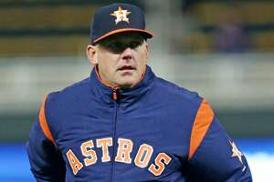 Houston Astros manager A.J. Hinch against the Minnesota Twins during a baseball game Monday, April 9, 2018 in Minneapolis. (AP Photo/Andy Clayton-King)