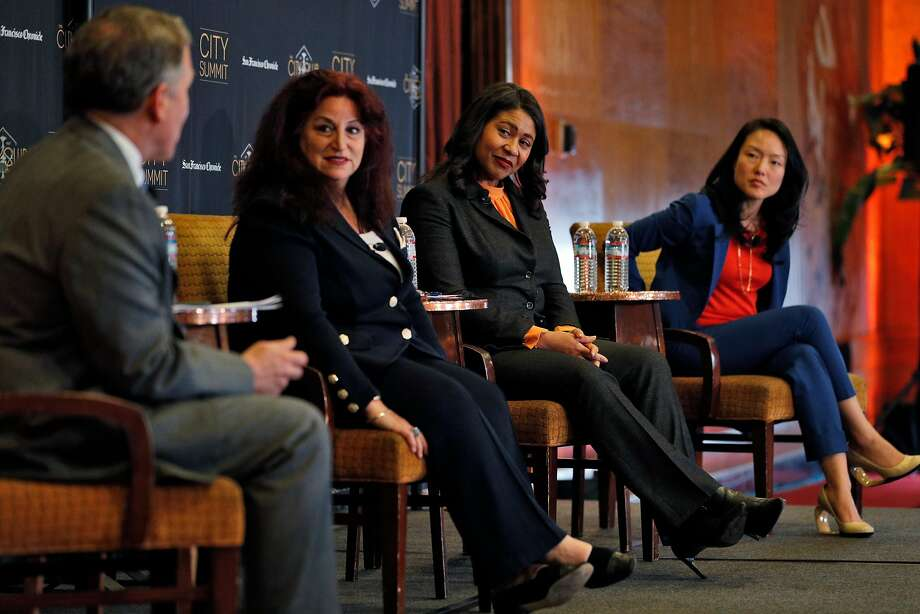Mayoral candidates Angela Alioto (second from left), London Breed and Jane Kim participate in a debate hosted by John Diaz (left), Chronicle editorial page editor. Photo: Carlos Avila Gonzalez / The Chronicle