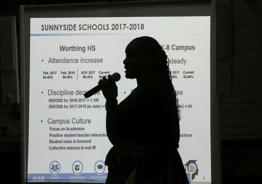 Houston ISD Trustee Wanda Adams goes over slides during a community meeting at Worthing High School as part of a series of meetings HISD held ahead of next month's planned vote to hand over control of several schools on Wednesday, March 21, 2018, in Houston. ( Elizabeth Conley / Houston Chronicle ) Photo: Elizabeth Conley/Houston Chronicle / © 2018 Houston Chronicle