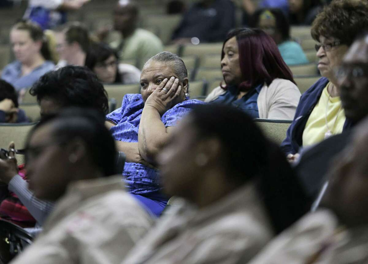 Attendees listen to HISD Trustee Wanda Adams answer their questions during a community meeting at Worthing High School as part of a series of meetings HISD held ahead of next month's planned vote to hand over control of several schools on Wednesday, March 21, 2018, in Houston. ( Elizabeth Conley / Houston Chronicle )