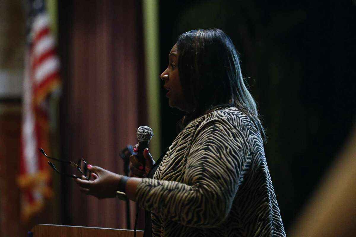 Houston ISD Chief Academic Officer Grenita Lathan speaks during a community meeting at Wheatly High School where HISD administrators discuss surrendering control over hiring, curriculum and governance at eight schools, including Wheatley Tuesday, Feb. 6, 2018 in Houston. The measures are being proposed to prevent the state from taking over HISD's school board. (Michael Ciaglo / Houston Chronicle)