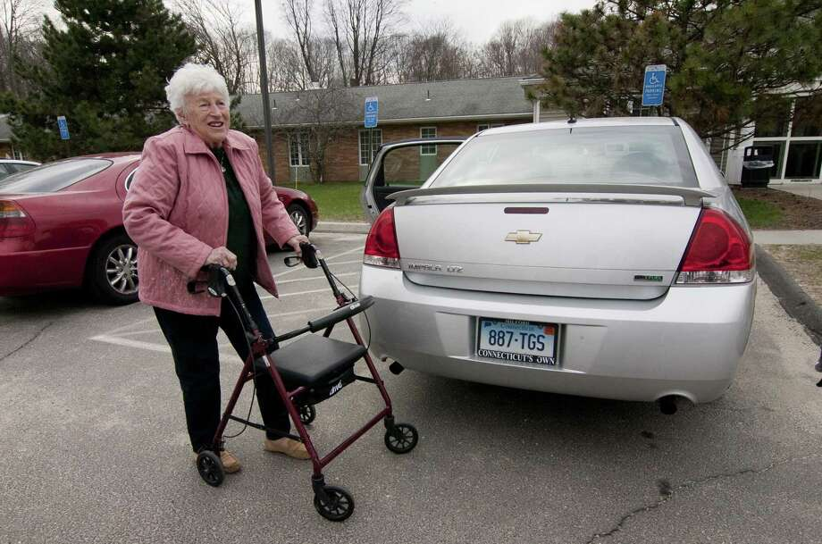 Delia Fortier, of Derby, arrives to visit her husband Robert at Birmingham Health Center in Derby, Conn. on Friday Apr. 13, 2018. The center will be closing on June 10th. Photo: Christian Abraham / Hearst Connecticut Media / Connecticut Post