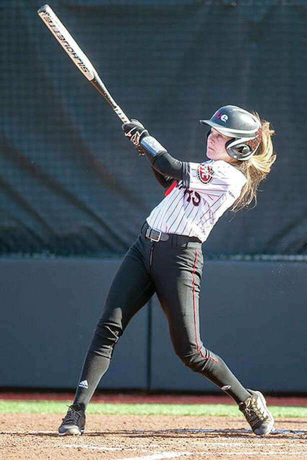Alyssa Herren was one of three SIUE players to hit a home run in a doubleheader at Southeast Missouri State on Friday, but the Cougars lost both games, 6-2 and 7-5. Photo:       SIUE Athletics