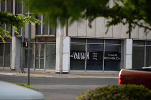 The Vaughn Building photographed April 13, 2018. The building sits empty despite signage on the windows advertising office and retail space availability for the year 2016.  James Durbin/Reporter-Telegram