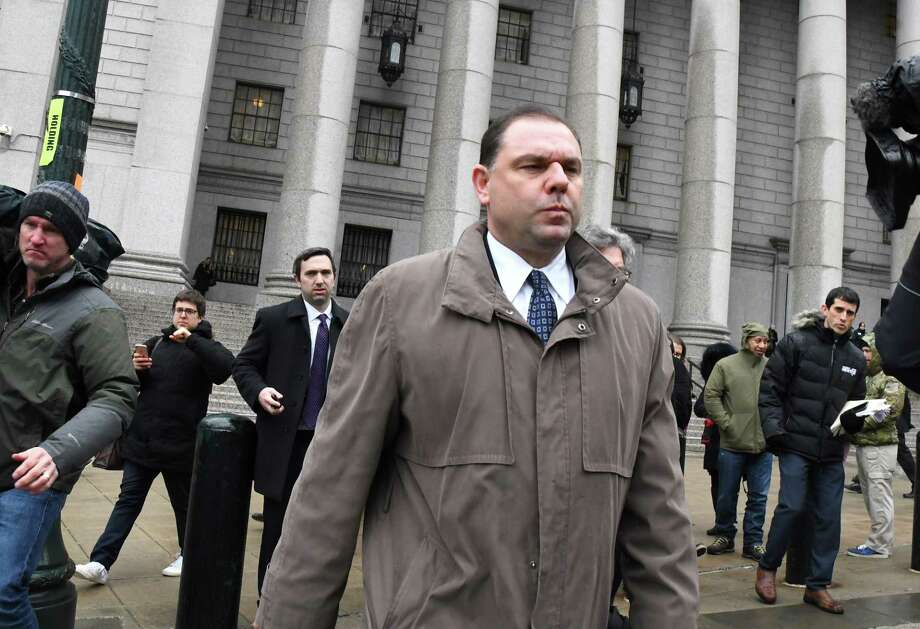 Joseph Percoco, a former top aide to Governor Andrew Cuomo, center, exits federal court in New York, U.S., on Tuesday, March 13, 2018. Percoco was found guilty on Tuesday of conspiracy to commit honest services wire fraud and solicitation of bribes. Photographer: Louis Lanzano/Bloomberg Photo: Louis Lanzano / © 2018 Bloomberg Finance LP