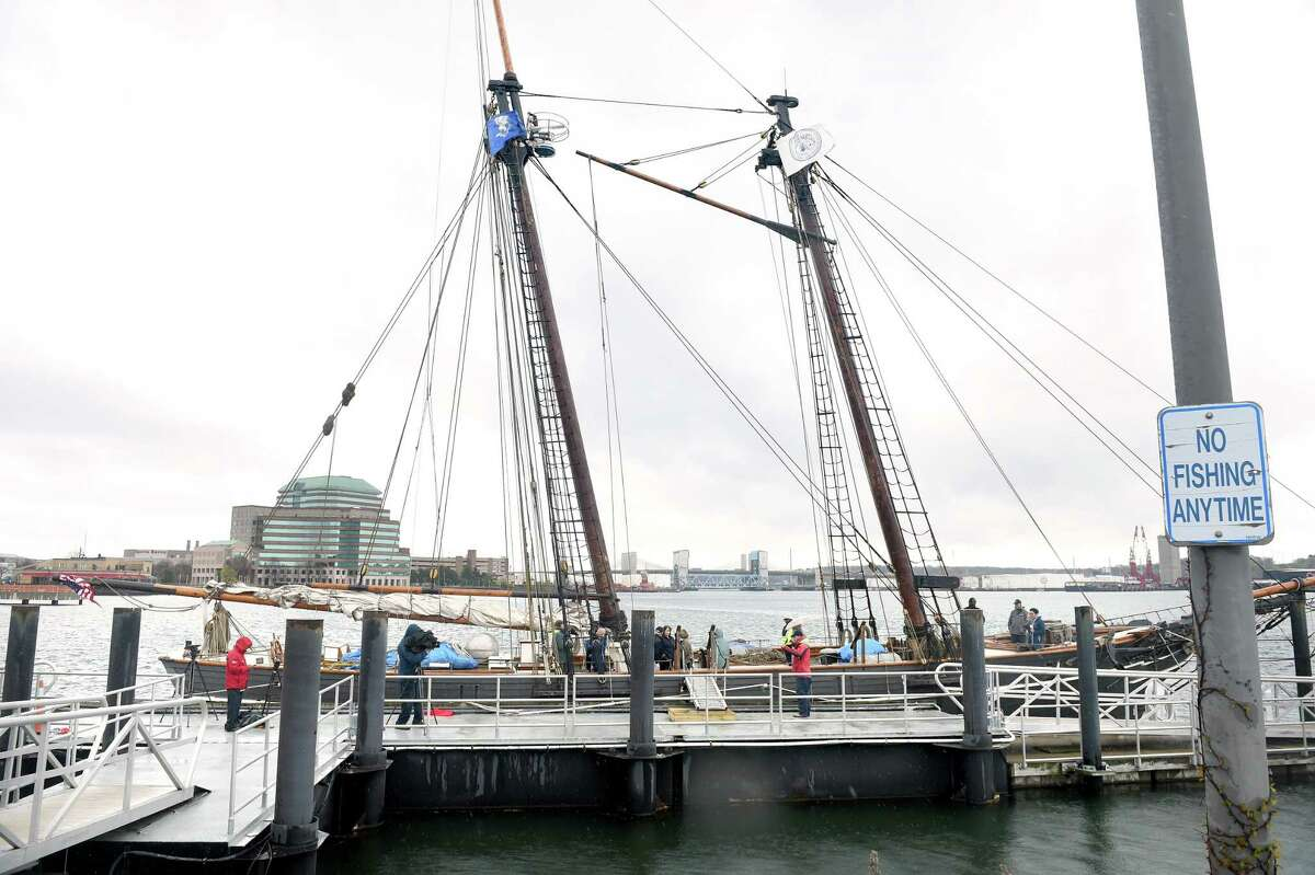 The Amistad docked at Long Wharf Pier in New Haven.