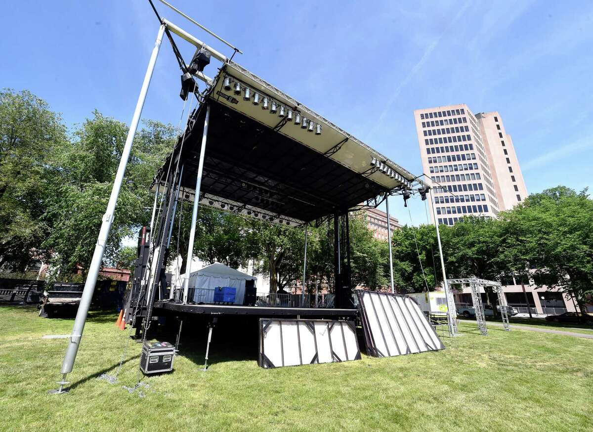 A stage purchased by New Haven for the International Festival of Arts & Ideas on the New Haven Green.