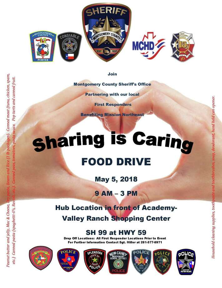 The Sharing is Caring Food Drive will collect items such as peanut butter and jelly; macaroni and cheese; dry pasta; beans and rice (1 lb. packages;) canned meats such as tuna, chicken, spam, etc.; canned pastas like spaghetti-O's, ravioli, etc.; canned peas, tomatoes, pasta sauce, pop tarts and canned fruits. Photo: MCSO