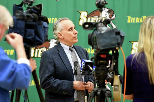 John D'Argenio, Siena College vice president and director of athletics, comments on the school's decision to part ways with coach Jimmy Patsos on Friday, April 13, 2018, during a press conference at Siena College in Colonie N.Y.  (Will Waldron/Times Union)
