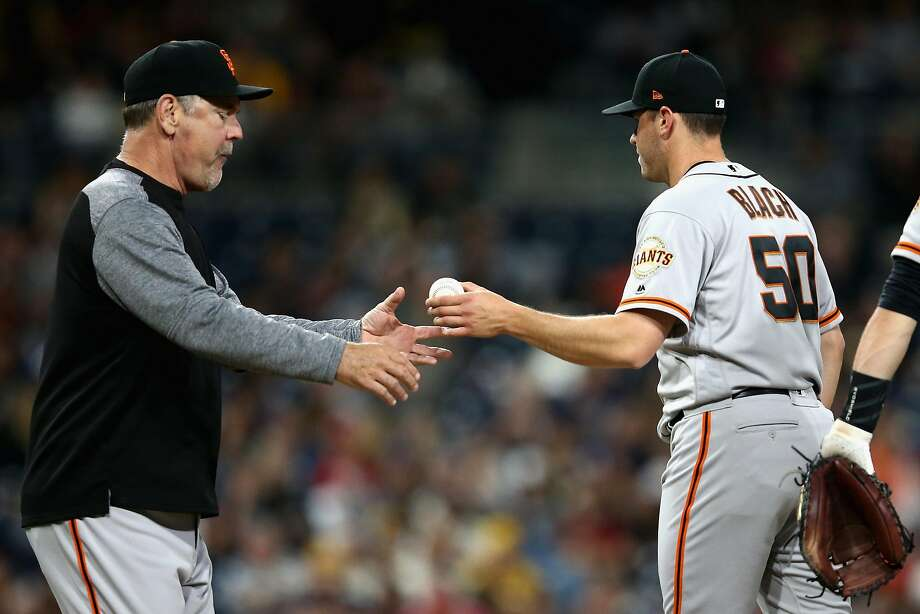 SAN DIEGO, CA - APRIL 13:  Manager Bruce Bochy takes Ty Blach #50 of the San Francisco Giants out of the game during the sixth inning of a game against the San Diego Padres  at PETCO Park on April 13, 2018 in San Diego, California.  (Photo by Sean M. Haffey/Getty Images) Photo: Sean M. Haffey / Getty Images