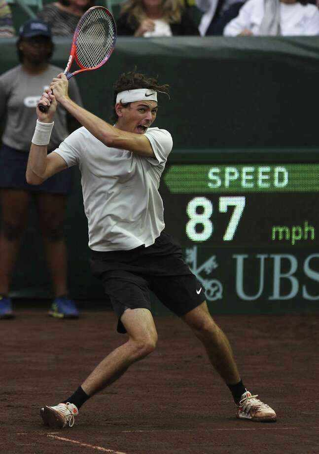 United States' Taylor Fritz plays against Jack Sock during the third set of a U.S. Men's Clay Court Championships Singles Quarter-Final match at River Oaks Country Club on Friday, April 13, 2018, in Houston. Fritz won the match 6-3, 3-6 and 6-4. ( Yi-Chin Lee / Houston Chronicle ) Photo: Yi-Chin Lee / Houston Chronicle / © 2018 Houston Chronicle