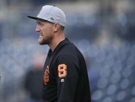 San Francisco Giants' Hunter Pence warms up during batting practice prior to a baseball game against the San Diego Padres in San Diego, Thursday, April 12, 2018. (AP Photo/Kelvin Kuo)