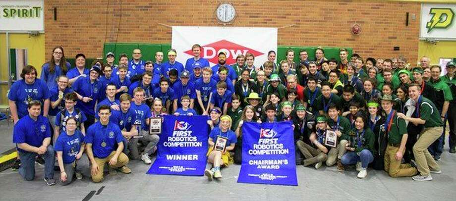 The Midland and Dow high teams display event award banners they received. (Photo provided)