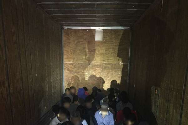 U.S. Border Patrol agents said they discovered 33 immigrants in a tractor-trailer whose driver led them on a 9-mile chase.